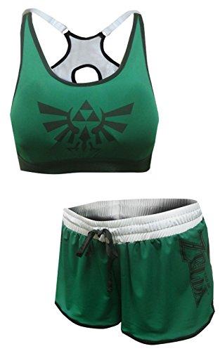 Nintendo Women's The Legend of Zelda Bra and Boxer Pajama Set (Small) Charcoal