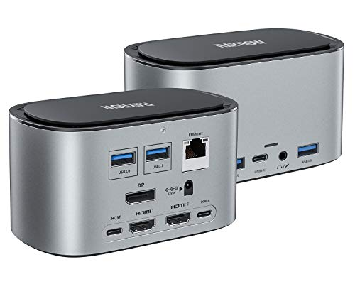 RAYROW USB-C 4K Triple Display Docking Station with SSD Enclosure & 87W PD Charging for MacBook Pro/Air & Windows Laptop Type C Adapter Systems (SSD 2HDMI DP 4USB3.0 2USB C Audio LAN USB PD)
