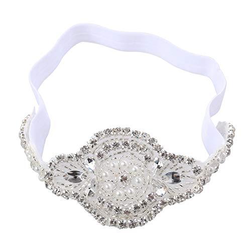 Lurrose meisjes strass hoofdband trendy retro kristal elastische haarband party decoratie voor kinderen (wit)