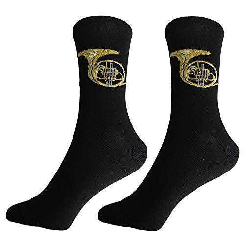mugesh Musik-Socken Horn (43/45) - Schönes Geschenk für Musiker