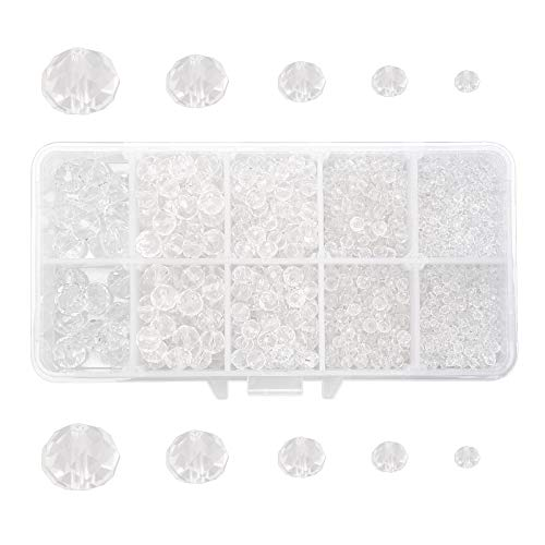AHANDMAKER Glass Crystal Bead, 1100 Pcs 5 Sizes 2/4/ 6/8/ 10 mm Clear Glass Beads Crystal Spacer Beads for Jewelry Making DIY Craft Project Supplies
