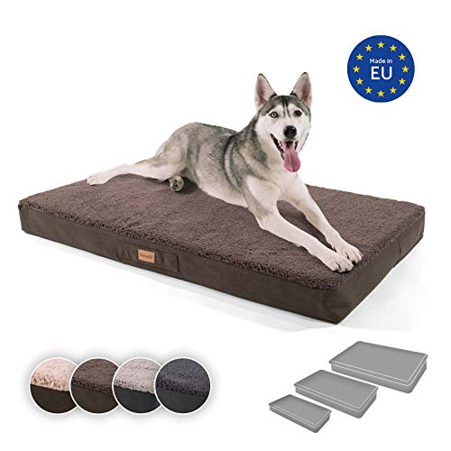 brunolie Balu extra großes Hundebett in Dunkelbraun, waschbar, orthopädisch und rutschfest, kuscheliges Hundekissen mit atmungsaktivem Memory-Schaum, Größe XL (120 x 72 x 10 cm)