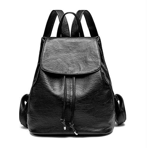 Monitika Mujer Bolsos mochila Moda Piel Impermeables Casual Viaje Escuela mochilas Negro