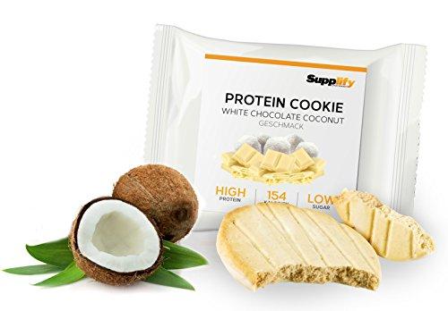 Protein Cookies nur 154 kcal White Chocolate Coconut wie Proteinriegel mit Whey Eiweiß 6x 40g Riegel