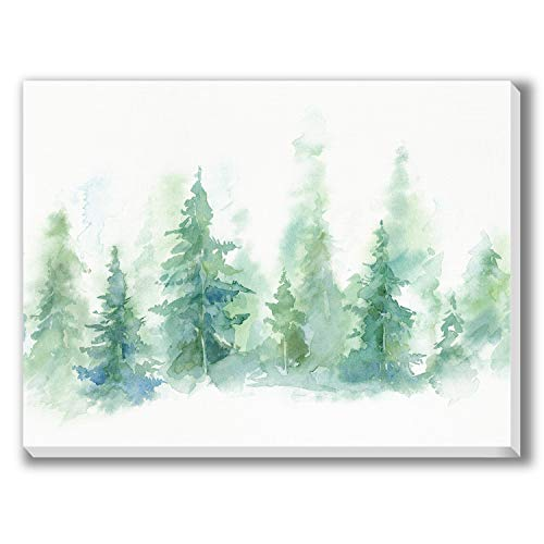 Texture of Dreams Pine Tree Forest Watercolor Painting on Canvas Print Wall Art Abstract Painting Artwork Giclee Printing Wall Decor Ready to Hang Home Decoration for Living Room Bedroom (16' x 20')