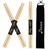 Donner Drum Sticks, 3 Pairs 7A Snare Drumsticks, Classic Maple Wood Drumsticks With Carrying Bag