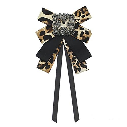 YSQSPWS Pajarita Classic Bow Piepara Mujer Leopardo Estampado Tela Cinta Broche Cristal Rhinestone Camisa Blanca Cuello Pin Pin Bowtie Accesorios Casuales Ropa y Accesorios (Color : Coffee)