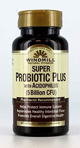 Windmill Natural Vitamins Super Probiotic Plus with Acidophilus (5 Billion CFU) 60 Capsules (Pack of 2)