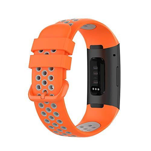 KINOEHOO Cinturino Compatibile con Fitbit Charge 4/SE Charge 3/SE Cinturini di Ricambio in Silicone.(Arancione + grigio)
