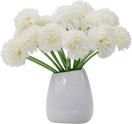 Olrla 20 Flores Artificiales Blancas de Hortensia, Flor de Seda Falsa para decoración de Bodas en la Oficina en casa…
