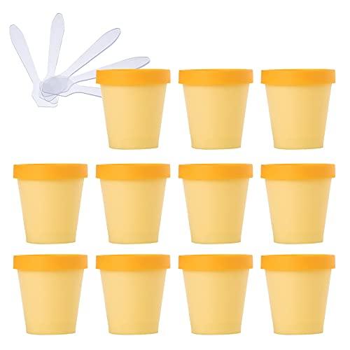 TIANZD 20 Pieza Envases Cosmética Plástico Amarillo 200ml Tarro de Cosmética 200 g Cuenco de Mascarilla con Tapa para Barro de Máscara Cremas Hidratantes Loción Ungüento Sal de Baño conEspátulas