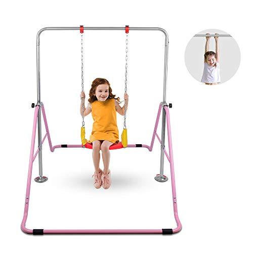 OneTwoFit Gymnastics Training Bar Expandable Kip Bars 4 Adjustable Height Folding Training Monkey Bars with Swing for Home Gym OT128