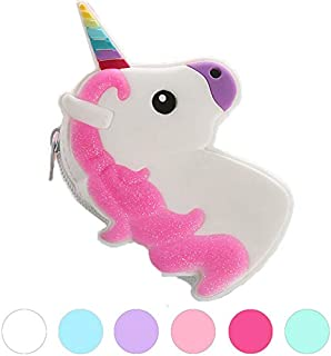 1-Pack Unicorn Purse - Cute Silicone Key Coin Tray Change Wallet Bag Pouch Case with Zipper Closure (White)
