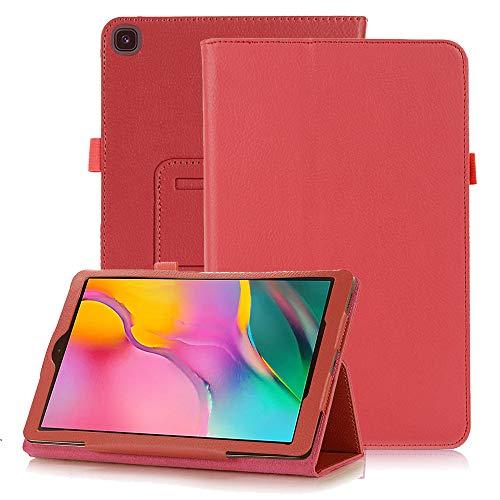 FAN SONG Funda para Samsung Galaxy Tab A 8.0 Pulgadas T290/T295 2019, Carcasa de Cuero PU Magnético con Soporte y Auto-Sueño/Estela para Galaxy Tab A8 8.0 Modelo SM-T290/T295/T297, Rojo