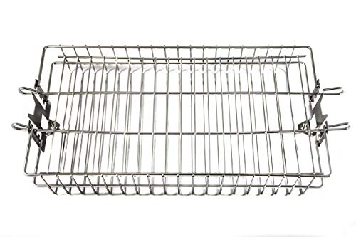 OneGrill Stainless Steel Universal Grill Rotisserie Spit Rod Flat Basket (Fits 5/16 Inch Square, 3/8 Inch Square, & 1/2 Inch Hexagon Spit Rods)