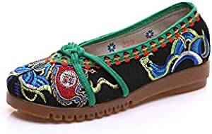 Lace Flower Embroidered Red Women Walking Shoes Flat Heel Elastic Band Soft Soles Comfortable Old Peking