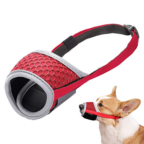 LUCKYPAW Dog Muzzle for Small Medium Large Dog to Prevent Biting Barking and Chewing with Reflective Strip Breathable Mesh and Adjustable Velcro