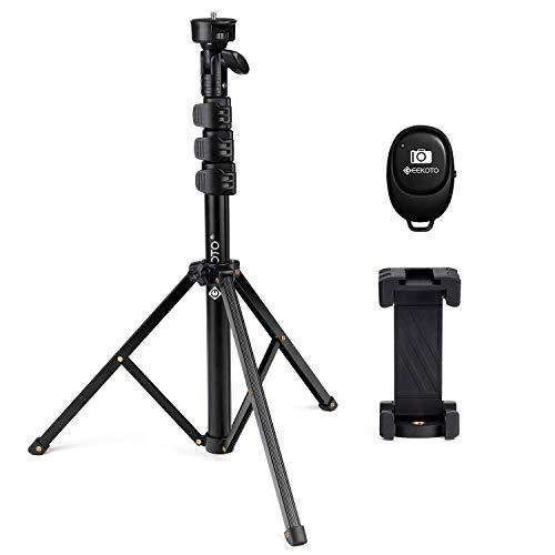 GEEKOTO Handy Stativ,Selfie Stick Stativ,130 cm Erweiterbar Stativ zum Live-Streamen, für iPhone 11 Pro Max/XS Max/XR, Samsung S20/S10
