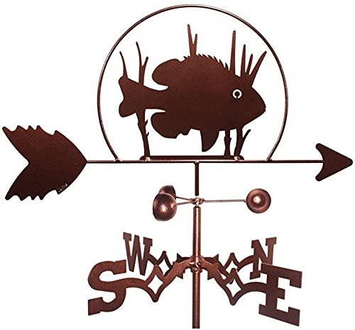 chaozhi Veleta de Metal Veleta de Hierro con Soporte de Montaje Decoración de Pesca - Diseño de pez, dirección Este suroeste Norte