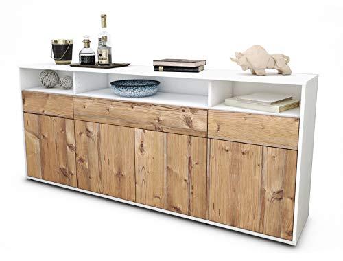 Stil.Zeit Sideboard Ezia/Korpus Weiss matt/Front Holz-Design Pinie (180x79x35cm) Push-to-Open Technik & Leichtlaufschienen