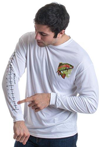 Fishing Ruler | Long Sleeve Wicking Fisherman Shirt w/Ruler on Forearm Unisex T-Shirt-(Adult,L) White