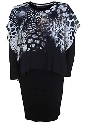 Doris Streich Damen Kleid mit Chiffon-Überwurf mit Print
