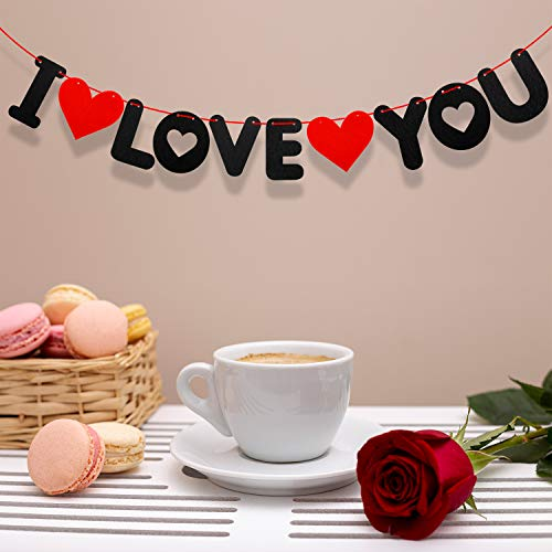 I Love You Banner - Black Love You Banner for Valentine's Day Decoration, Wedding and Anniversary Day Decorations - Create a Romantic Atmosphere