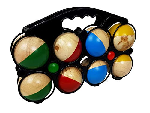 Gravidus Boccia Spiel Boccia Kugeln, Boule Set - mit 8 farbigen Kugeln im Durchmesser von 7 cm und 2 Zielbällen aus Holz mit Tragetasche