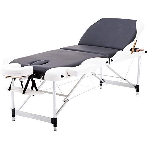 Massagetafel, draagbare 3-delig, massagetafel van aluminium, lichtgewicht, instelbare hoogte, professionele inklapbare beauty spa-behandeling, bank met hoofdsteun, armleuning voor facial SPA Tattoo
