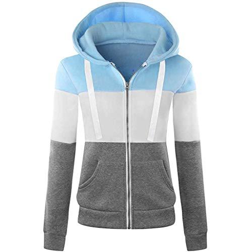 QingJiu Damen Langarm Kapuzenmantel Schlank Farblich passende Tasche Reißverschluss Jacke Sport Casual Outwear