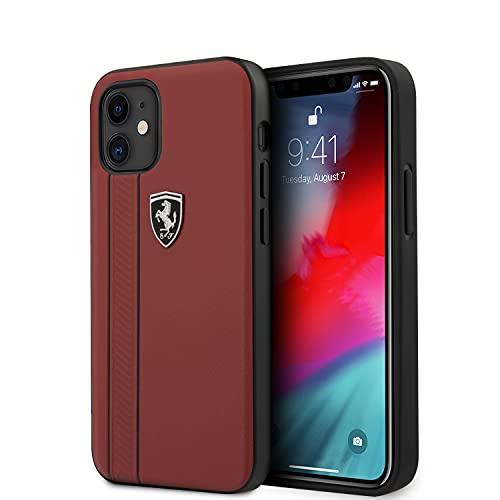 Ferrari - Carcasa de piel con efecto granulado con doble trazo compatible con iPhone 12/12 Pro o 12 Mini (iPhone 12 Mini, piel roja)
