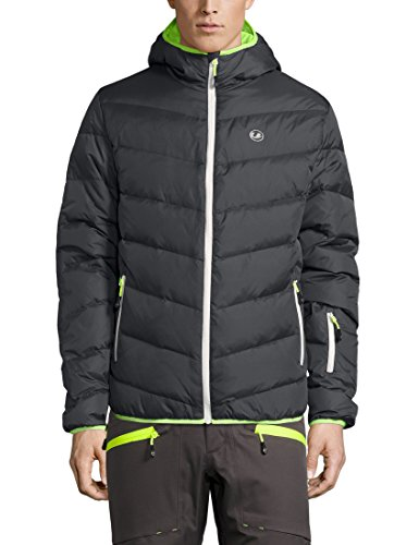 Ultrasport Herren Advanced Mylo Ski/Snowboard Daunenjacke, Dunkelgrau/Neon Gelb, XL