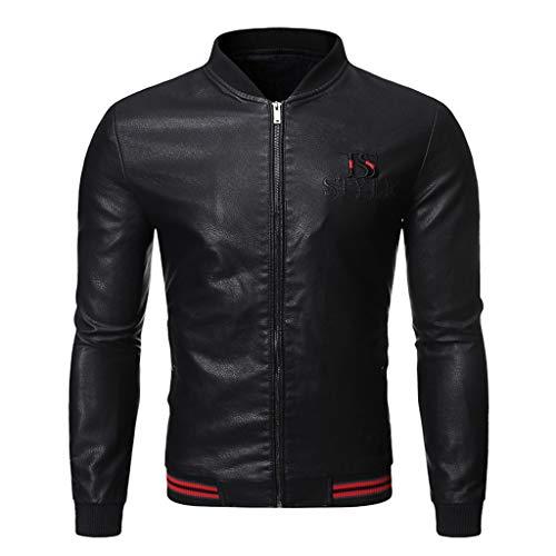 Yowablo Jacke Softshell Herren Lederjacke Herbst & Winter Biker Motorrad Reißverschluss Casual Outwear Coat (3XL,1- Schwarz)