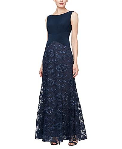 Alex Evenings Women's Long A-Line Rosette Dress with Short Sleeves Sequin Detail, Navy Floral, 8