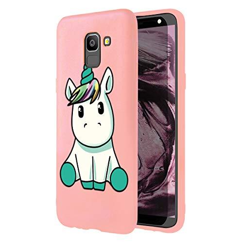 Zhuofan Plus Cover Samsung Galaxy J6 2018, Custodia Silicone Rosa Soft Tpu Gel con Design Print Pattern Antigraffio Antiurto Protactive Cover per Samsung Galaxy J6 2018, Unicorno