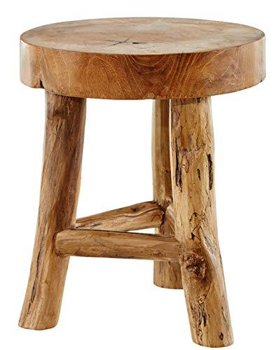 dasmöbelwerk Baumstamm Teak Hocker massiv Holz Sitzhocker Beistelltisch Natur Tisch Holztisch Holzhocker Fußbank 3 Beine