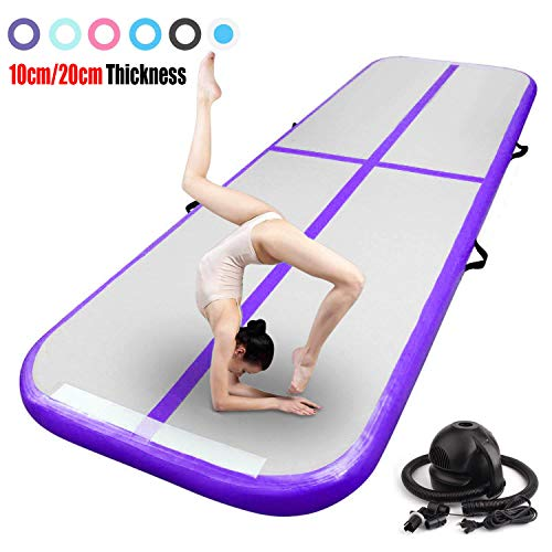FBSPORT 13.12ft Inflatable Gymnastics Air Track Tumbling Mat 4 inches Thickness Airtrack Mats for Home Use/Training/Cheerleading/Yoga/Water with Pump