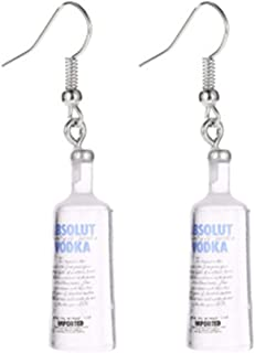 Jeni-Sely Creative Funny Resin Beer Bottle Soju Pub Party Unique Bottle Dangle Earrings