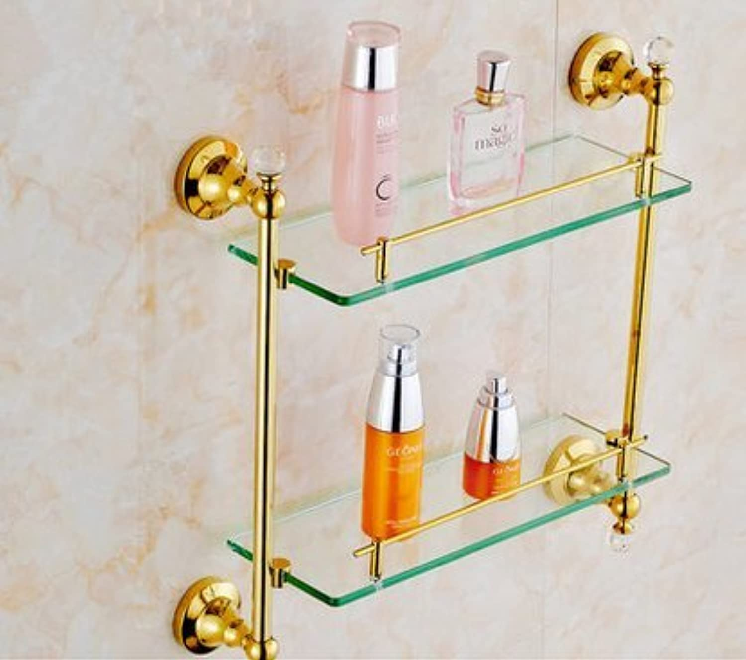 Continental copper and gold double glass shelf-@wei