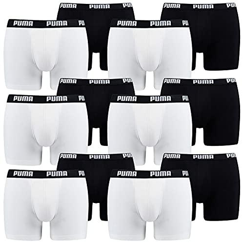 Puma - Confezione da 12 boxer da uomo 301 – bianco nero. L
