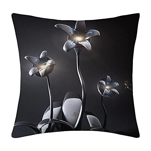 Almohada Creativa 50x50cm Pareja Almohada decoración Regalo sofá cojín (Arte de Flor de Plata) - con Almohada
