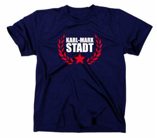 Karl Marx Stadt Chemnitz T-Shirt, Sachsen, Navy, L