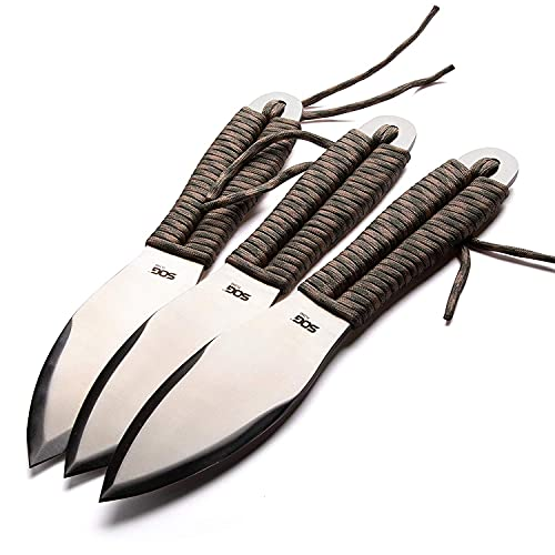 SOG Fling Classic Throwing Knives Set with Sheath - 3pk Balanced Throwing Knife Set with 2.8 Inch Steel Blades and Paracord Handles (FX41N-CP), Black, One Size