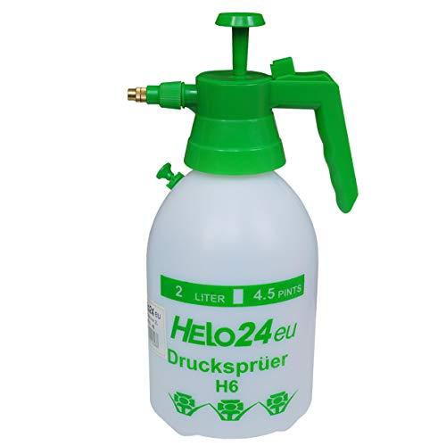 Helo 'H6' Drucksprüher 2 Liter, 1 Bar Duck, Druckentlastungsventil, Garten Pumpsprüher Drucksprühflasche aus PE Kunststoff mit Verstellbarer Düse aus Messing und chemikalienbeständigen Dichtungen