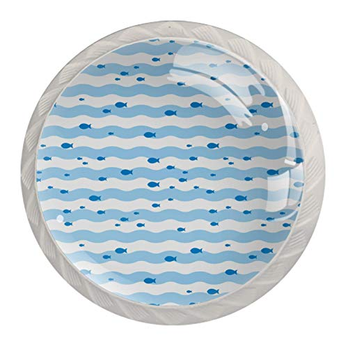 [4 pz]Manopole per armadio da cucina in tinta unita, quadrate con cassetti e maniglie per armadietti, tira a strisce di pesce blu