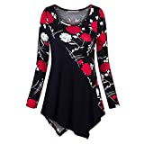 Xmiral Pullover Tops Camicia Donna Taglie Forti Manica Lunga Stampa O-Collo Bottone (3XL,R...