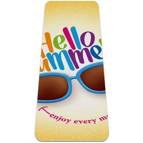 Hello Summer Smile - Esterilla de yoga extra gruesa, respetuosa con el medio ambiente, antideslizante, para todo tipo de yoga, pilates y ejercicios de piso, 183 x 61 cm
