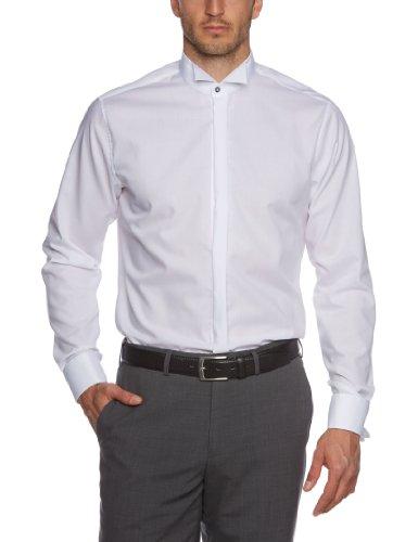 Seidensticker Herren Smoking Hemd Tailored Fit – Bügelfreies, schmal tailliertes Hemd mit Kläppchen-Kragen und Umschlagmanschette – Langarm – 100% Baumwolle, Weiß (weiss), 41