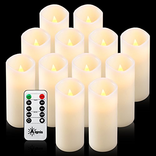 Aignis Flameless Candles, Battery Candles Set of 12(D2.2 x H6) Real Wax Led Candles with 10-Key Remote Timer (Ivory)