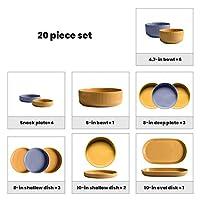 セラミックディナーセット、20個の創造性マカロン磁器の組み合わせセット-ボウル/皿  家庭用縦縞食器用食器,B